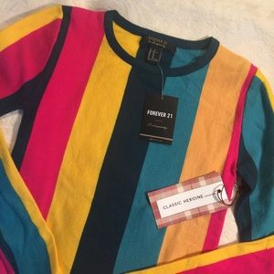 Forever 21 Multi Color Stripe Knit Pullover Top XS